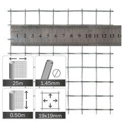 Kippengaas Verzinkt 19x19x1.45mm - Rol 25x0.5m