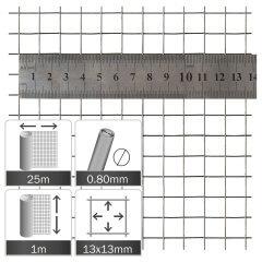 Kippengaas Verzinkt 13x13x0.8mm - Rol 25x1m