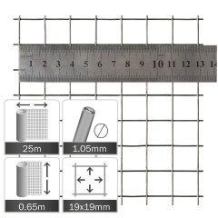 Kippengaas Verzinkt 19x19x1.05mm - Rol 25x0.65m
